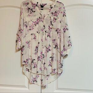 Torrid White Purple Floral Sheer Tunic Shirt 2